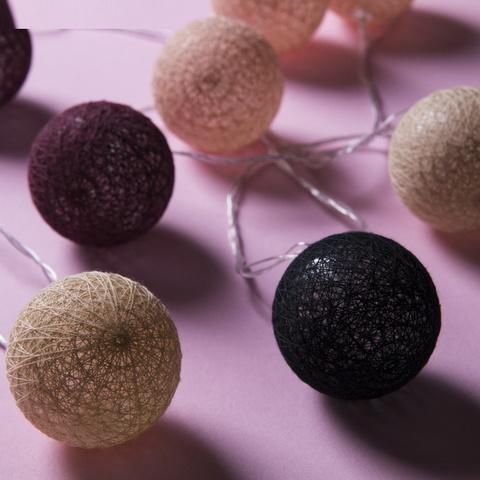 Гирлянда Клубки шарики кофейные d-6 см, 5 м
