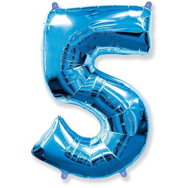 Фольгированная цифра 5, синий