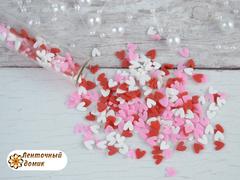 Наполнитель для аквабантиков красно-бело-розовый сердечки № 1
