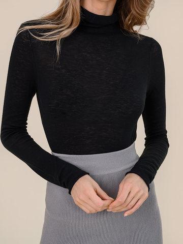 Женский свитер черного цвета из 100% шерсти - фото 3