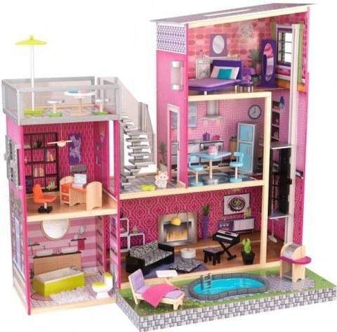 Дом мечты Барби KidKraft Глянец с мебелью 35 предметов и бассейном 65833_KE
