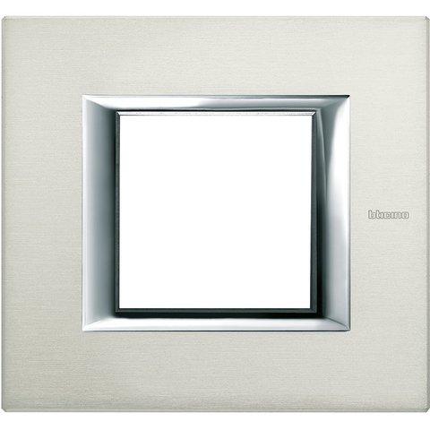 Рамка 1 пост, прямоугольная форма. АЛЮМИНИЙ. Цвет Алюминий. Немецкий/Итальянский стандарт, 2 модуля. Bticino AXOLUTE. HA4802XC