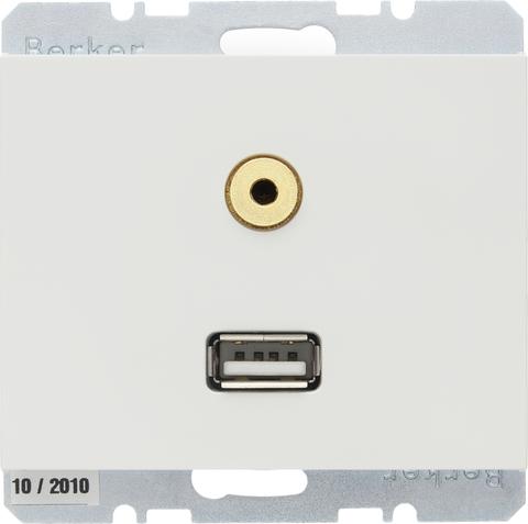 Розетка USB/3.5mm AUDIO. Цвет Полярная белизна. Berker (Беркер). K.1. 3315397009. Цвет Полярная белизна. Berker (Беркер). K.1. 3315397009