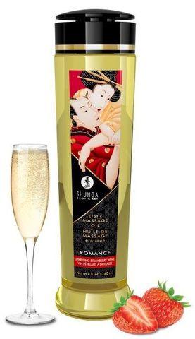 Массажное масло с ароматом клубники и шампанского Romance - 240 мл.