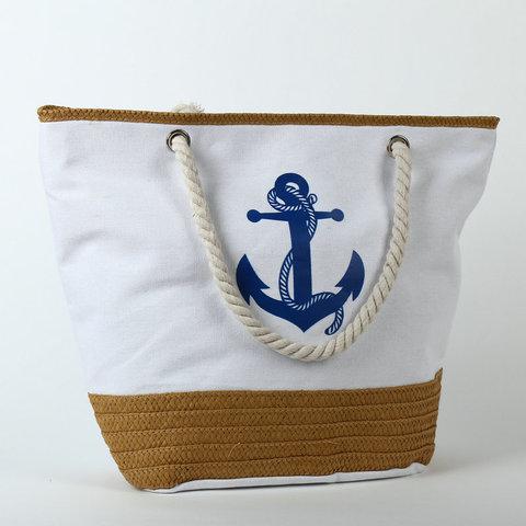 Пляжная сумка с якорем (Белая)