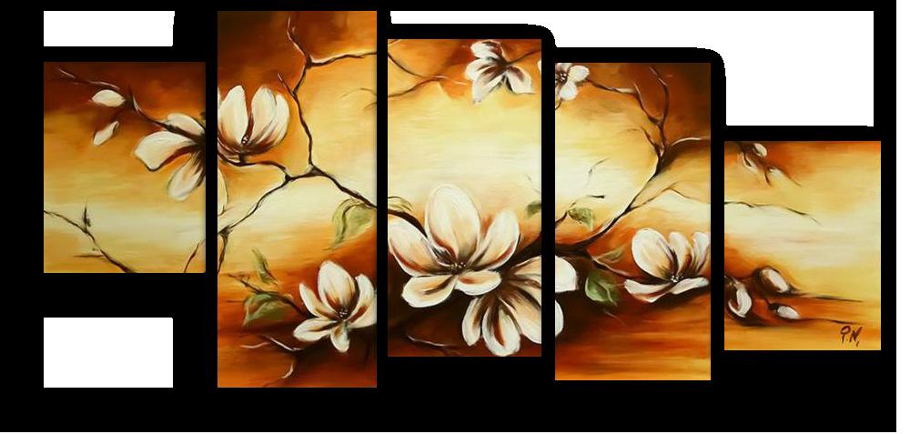 Модульные картины Веточка с цветами (Ручная работа маслом) р71.png