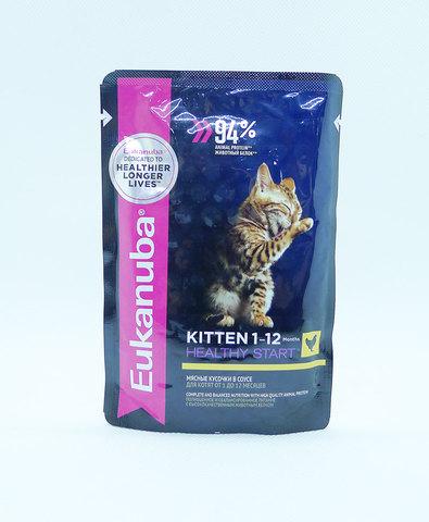 Eukanuba Cat пауч для котят с курицей в соусе 85 г