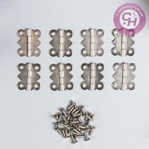 Петли для шкатулок фигурные, металлические, 8 шт, 2х2,1 см