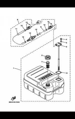 Бак Топливный Yamaha 24л. С указателем уровня топлива