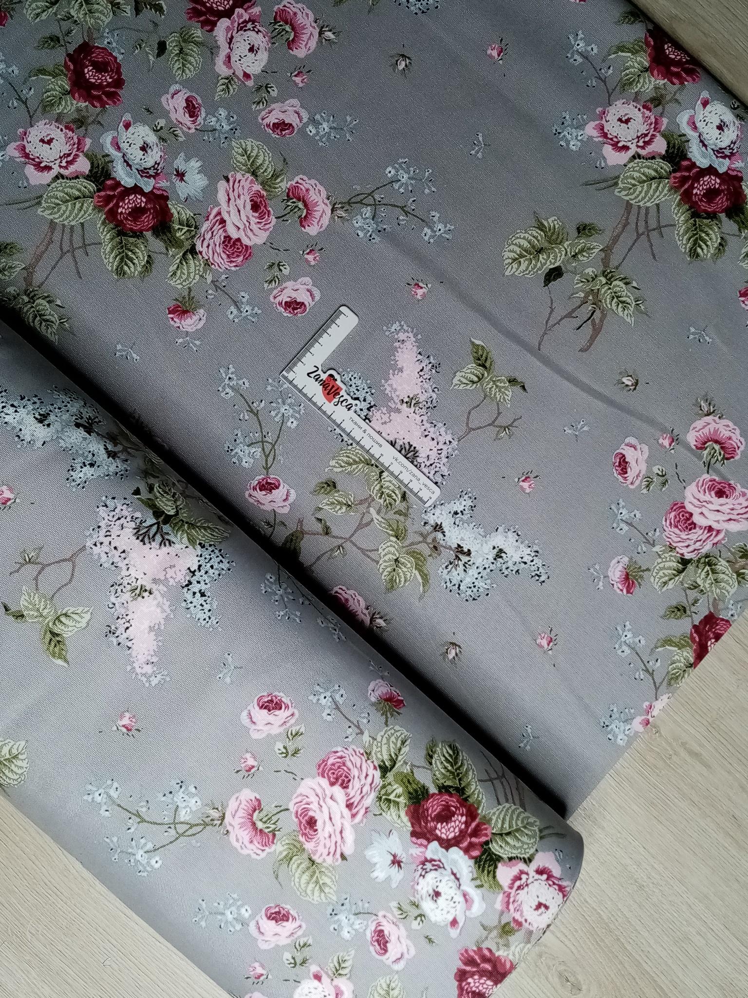 Ткань duck с тефлоновой пропиткой Парковая роза на сером