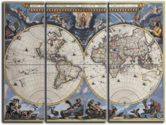 """Модульная картина """"Карта мира"""""""