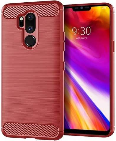 Чехол LG G7 ThinQ (G7+ ThinQ) цвет Red (красный), серия Carbon, Caseport