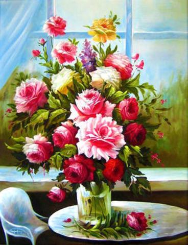Картина раскраска по номерам 40x50 милые красные розы