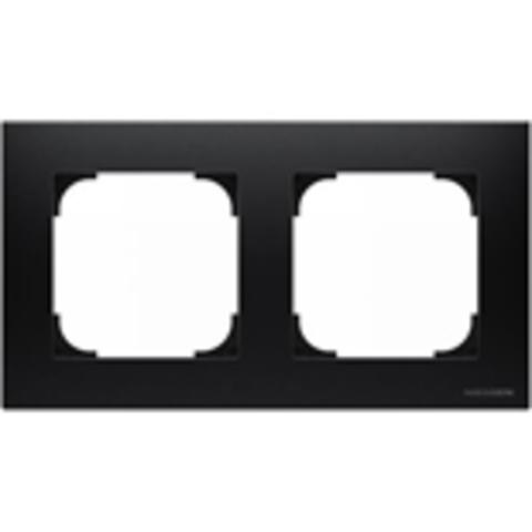 Рамка на 2 поста. Цвет Чёрный бархат. ABB(АББ). Sky(Скай). 2CLA857200A1501