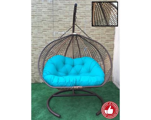 Двухместное подвесное кресло Сомбрерро Cross бежево-коричневое