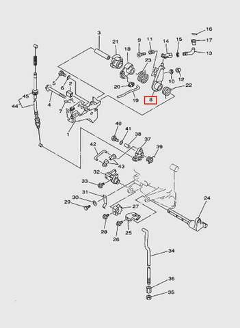 Рычаг управления заслонкой  для лодочного мотора T15, OTH 9,9 SEA-PRO (12-8)