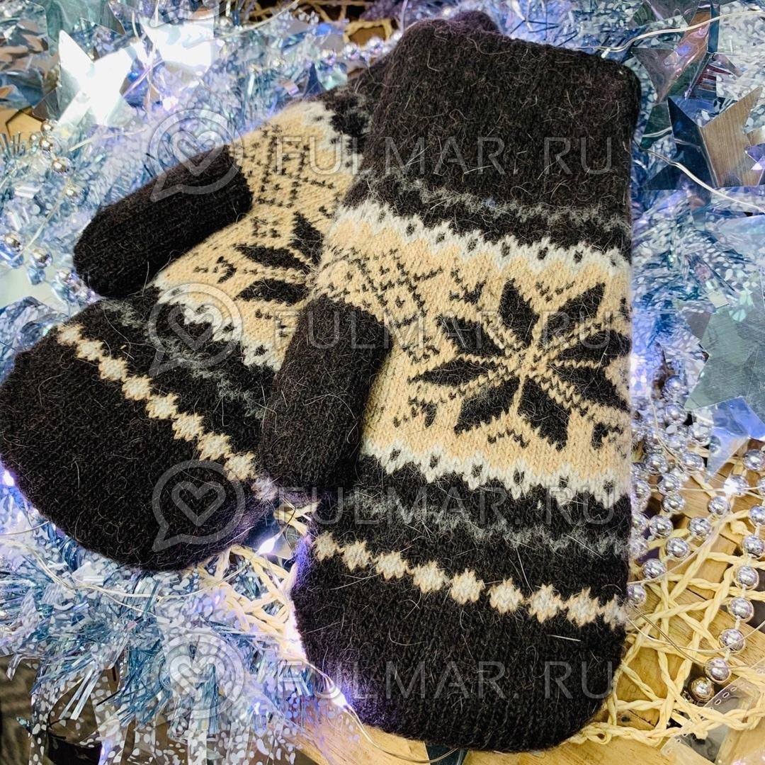 Варежки шерстяные вязаные Большая Снежинка (цвет: Шоколадный) фото