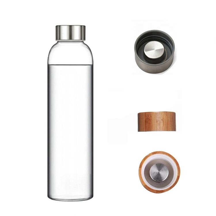 Бутылка из боросиликатного стекла 0,55 л. бамбуковая крышка черный чехол