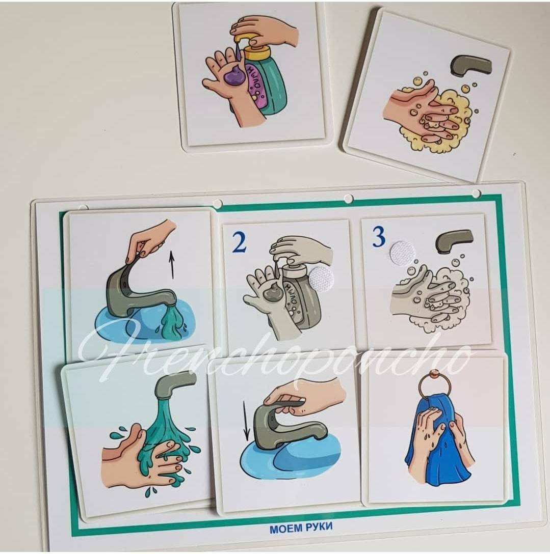 Мыть руки. Социальная адаптация. Развивающие пособия на липучках Frenchoponcho (Френчопончо)