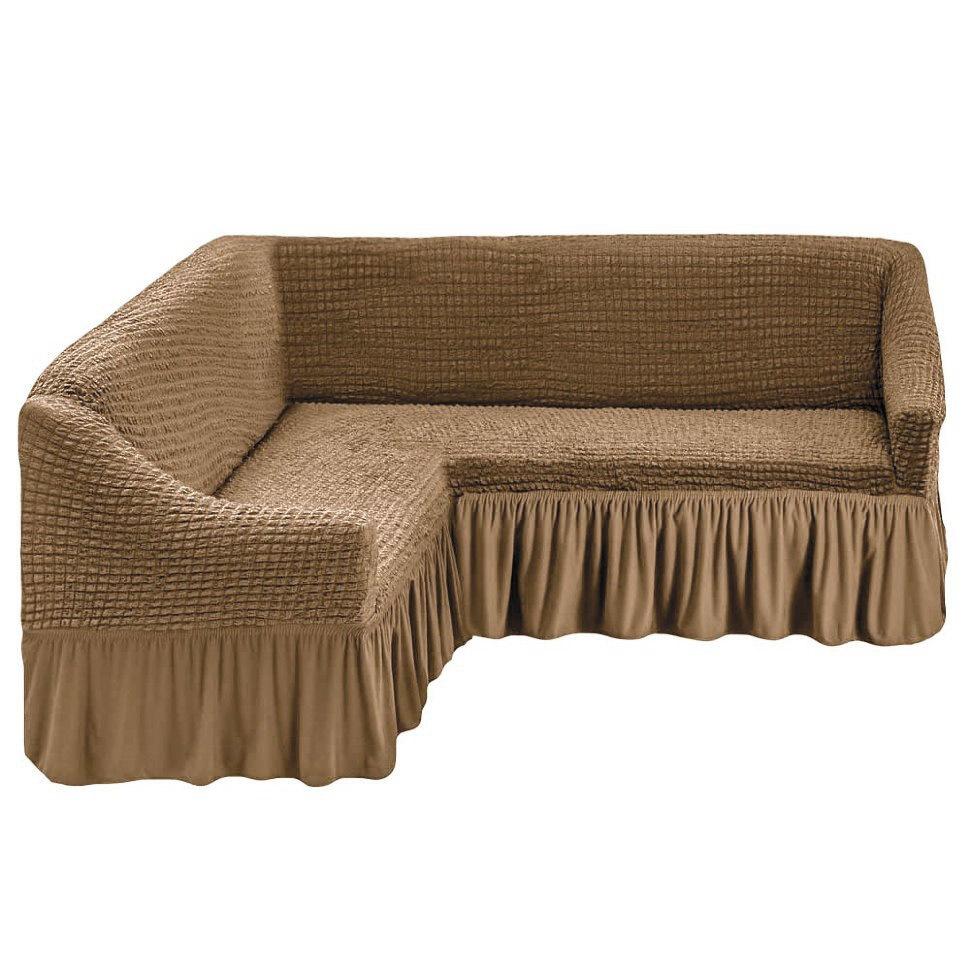 Чехол на угловой диван, бежевый