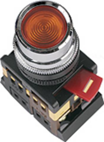 Кнопка ABLF-22 зеленый d22мм неон/230В 1з+1р TDM