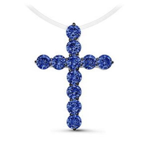 Крест из серебра с сапфировыми цирконами на леске-невидимке (большой)
