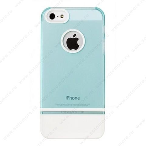 Накладка MOBILE 7 для iPhone SE/ 5s/ 5C/ 5 голубой верх белый низ