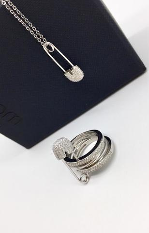 Колье с булавкой (маленькая)  из серебра в стиле APM MONACO