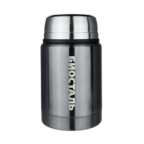 Термос для еды Biostal (0,75 литра), с ложкой, серый