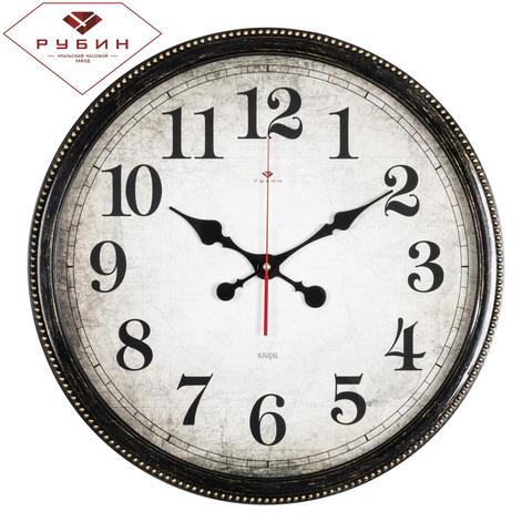4844-003 (5) Часы настенные круг d=49,5см, корпус черный с золотом