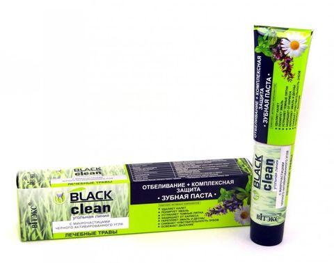 Витэкс Зубные пасты Black Clean Зубная паста Отбеливание + Комплексная защита с микрочастицами черного активированного угля и лечебными травами 85 г