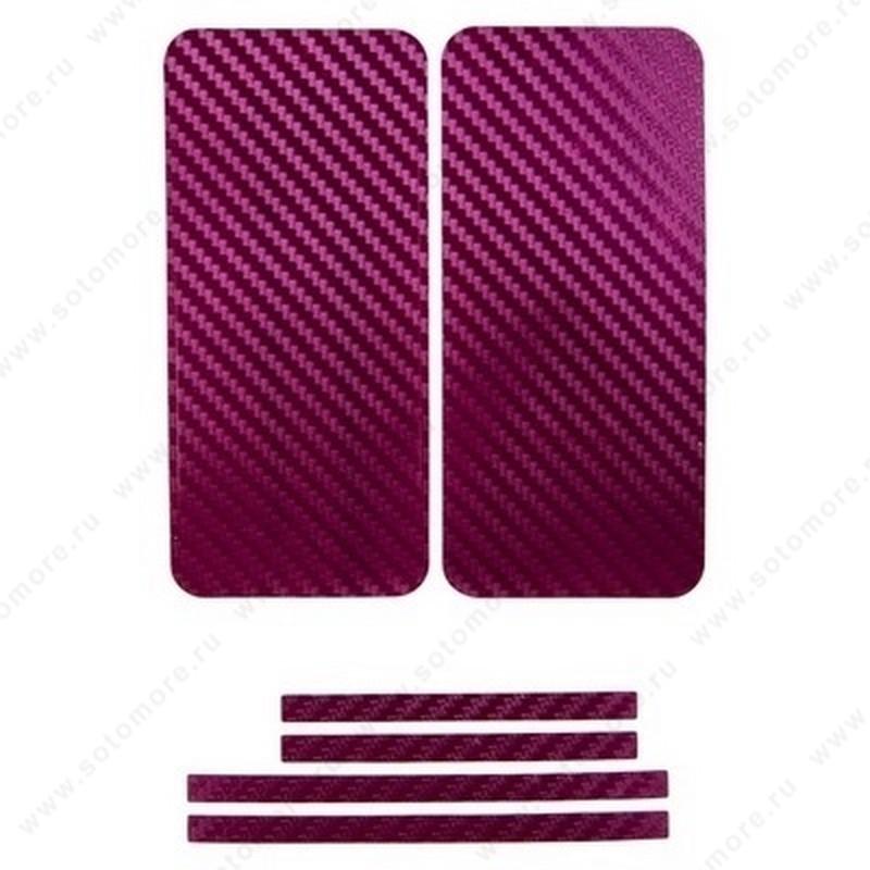 Наклейка карбон для iPhone SE/ 5s/ 5C/ 5 бордовая на переднюю, заднюю и боковые части