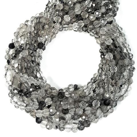 Бусины рутиловый кварц черный A граненый 3,8 мм нить 19 см