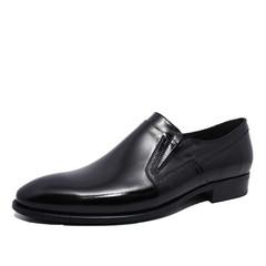 Черные оксфорды мужские без шнурков Икос кожаные