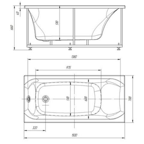 Ванна акриловая Aquatek Альфа  150х70см. на каркасе и сливом-переливом. схема