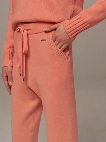 Женские брюки кораллового цвета из шерсти и кашемира - фото 3