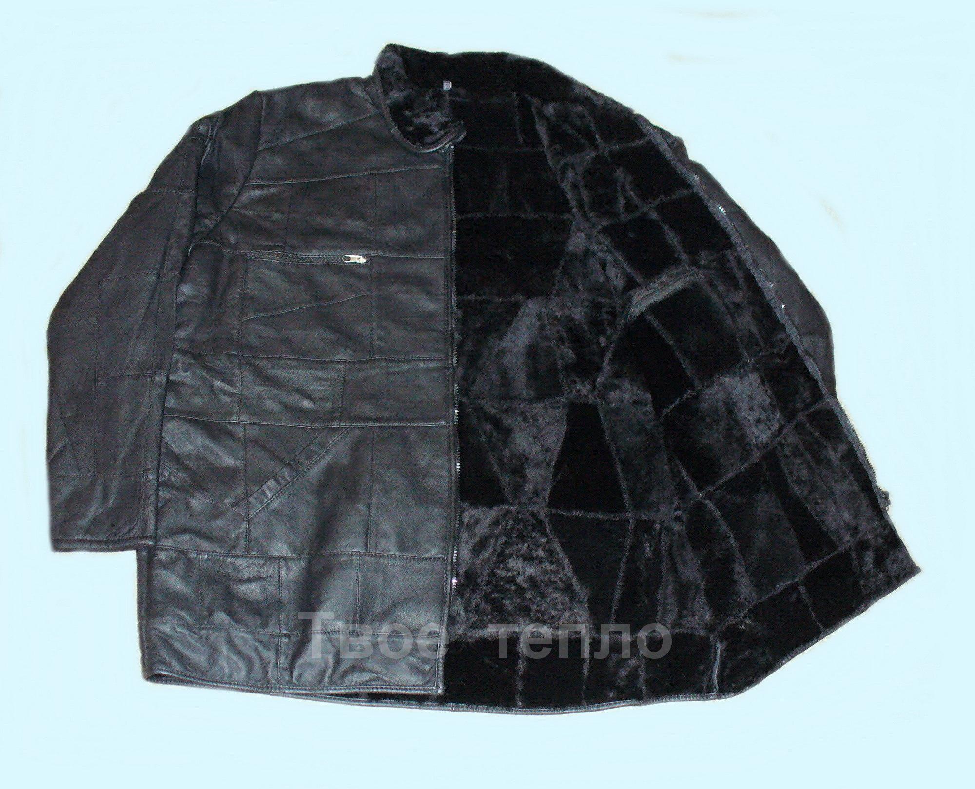 Мужская кожаная куртка на овчине