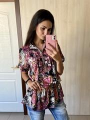 Фантазия. Яркая шифоновая блуза. Розовый
