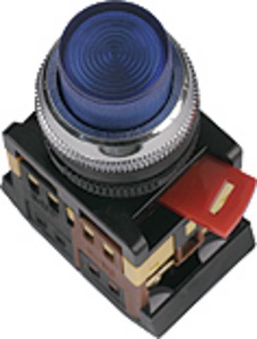 Кнопка ABLFP-22 белый d22мм неон/230В 1з+1р TDM
