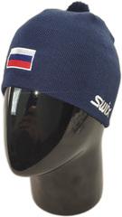 Шапка лыжная Swix Tradition темно-синий с флагом России