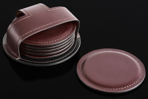 Набор костеров (6 шт) BUVARDO PREMIUM из кожи  Full Grain Brown/Cuoietto черный