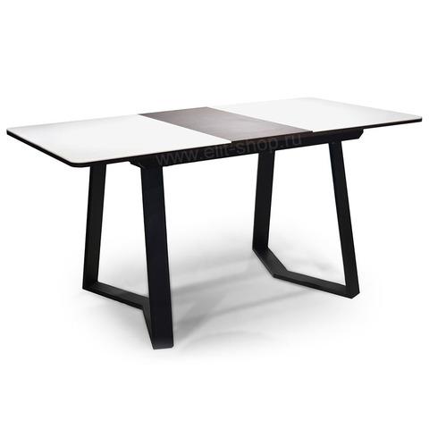 Стол РУМБА ПР-1 Камень 04 Белый/ подстолье венге / опора №93 черная/ 120(157)х80см