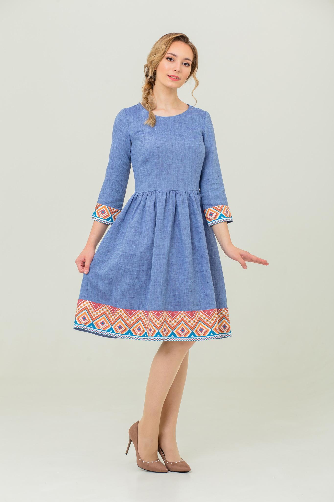 платье с русским орнаментом бохо Синий меланж