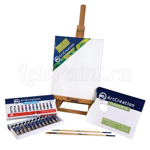 Набор акриловых красок ArtCreation - 12 цветов в тубах по 12мл + аксессуары