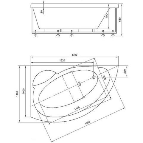 Ванна акриловая Aquatek Аякс 2 170х110см. на каркасе и сливом-переливом левая/правая схема