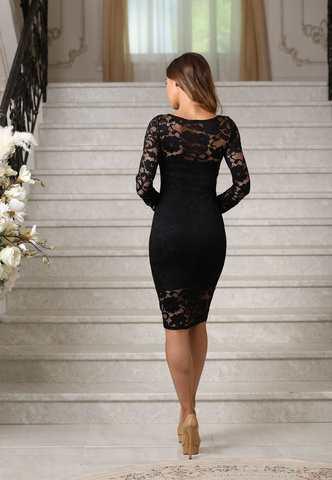Кружевное миди платье-футляр с рукавами, черное 1