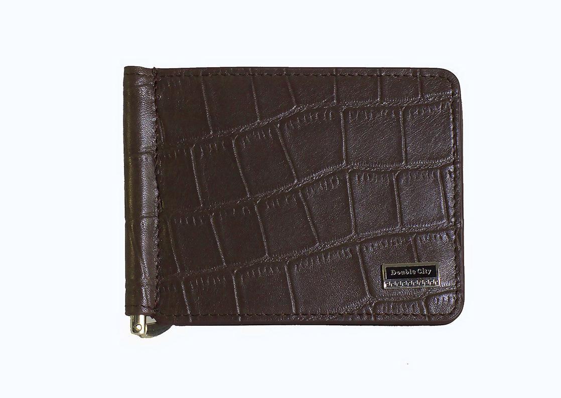 Зажим для денег коричневый из натуральной кожи Dublecity 063-DC9-11jb