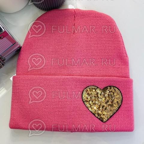 Шапка для девочки Розовая с сердцем из пайеток