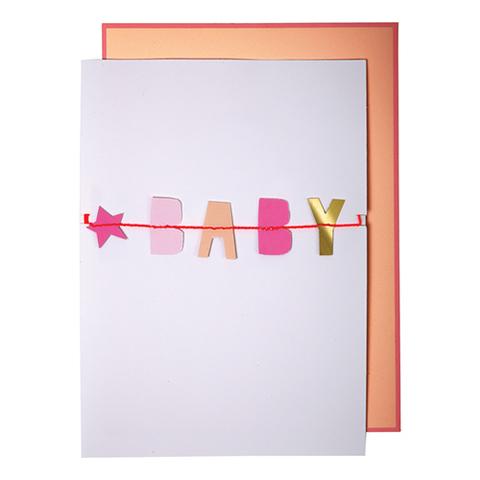 Открытка для новорожденного с гирляндой