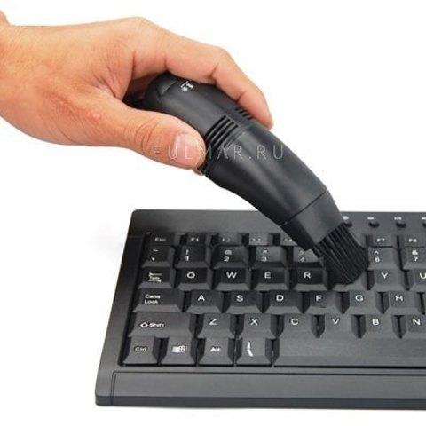 Мини-пылесос для клавиатуры от USB Черный